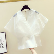 Lace / Chiffon Summer 2020 White, black S,M,L,XL Short sleeve commute Socket singleton  Self cultivation Regular V-neck Solid color Flying sleeve 18-24 years old Chain, splice, mesh Korean version 81% (inclusive) - 90% (inclusive)