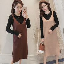 suit Other / other Deep coffee color suit, light coffee color suit, high quality version of deep coffee color suit [80% candidates], high quality version of light coffee color suit [80% candidates] M,L,XL,XXL Korean version Long sleeve + skirt summer routine Solid color Pure cotton (95% and above)