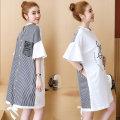 Dress Dear Li Lili Wear picture colors on both sides M,L,XL,XXL Korean version Short sleeve Medium length summer Crew neck letter Pure cotton (95% and above)