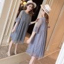 Dress Dear Li Lili M,L,XL,XXL Korean version Short sleeve Medium length summer Crew neck Solid color Chiffon