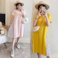 Dress Other / other Pink, yellow M,L,XL,XXL Korean version Short sleeve Medium length summer Crew neck Solid color Pure cotton (95% and above)