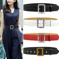 Belt / belt / chain Pu (artificial leather) Black, white, red, brown, black copper deduction, black copper deduction female belt Versatile Single loop Youth, middle age, old age Pin buckle Diamond inlay Frosting 5cm alloy Bare, inlaid, hollow, rivet, frosted, Rhinestone, candy color, letter, flower