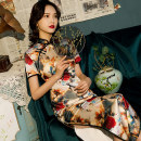 cheongsam Autumn of 2019 XXL,XXXL,S,M,L,XL,4XL three quarter sleeve long cheongsam Retro Low slit banquet Oblique lapel Decor 25-35 years old Piping silk
