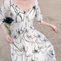 Dress Summer 2020 XS,S,M,L Mid length dress singleton  elbow sleeve commute V-neck High waist Decor zipper Big swing puff sleeve Others Type X Sltown lady