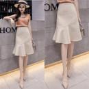 skirt Summer 2021 S,M,L,XL,2XL Apricot, black Mid length dress commute High waist Ruffle Skirt Solid color Type A 9776-L 71% (inclusive) - 80% (inclusive) other Ruffle, asymmetry, wave, 3D Korean version
