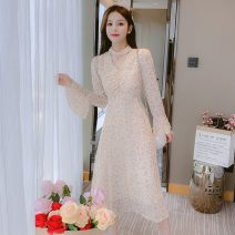Dress Spring 2021 Picture color S,M,L,XL Mid length dress singleton  Long sleeves commute Crew neck High waist Broken flowers Socket A-line skirt pagoda sleeve Hanging neck style Type A Korean version Print, fold 3528-L 31% (inclusive) - 50% (inclusive) Chiffon other