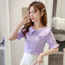 shirt White, purple S,M,L,XL Summer 2020 other 31% (inclusive) - 50% (inclusive) Short sleeve commute Regular Doll Collar Single row multi button pagoda sleeve Solid color Self cultivation Korean version 1548#H Button