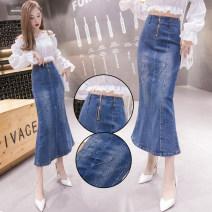 skirt Spring 2021 S,M,L,XL,2XL blue Mid length dress commute High waist Ruffle Skirt Solid color 229# zipper Korean version