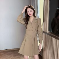 Dress Autumn 2020 Khaki, black S,M,L,XL Middle-skirt singleton  Long sleeves commute tailored collar High waist Solid color double-breasted A-line skirt bishop sleeve Others Type A Korean version Strap, button 6905-L