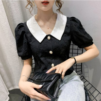 shirt White, black S,M,L,XL Summer 2020 other 51% (inclusive) - 70% (inclusive) Short sleeve commute Short style (40cm < length ≤ 50cm) Polo collar Socket puff sleeve other Korean version Buttons, stitching, embroidery