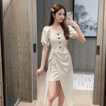 Dress Summer 2021 Apricot, black S,M,L,XL Mid length dress singleton  Short sleeve commute square neck High waist Solid color Single breasted Irregular skirt puff sleeve Others Type A Other / other Korean version Asymmetry, button eight thousand and seventy-six # W 81% (inclusive) - 90% (inclusive)