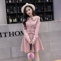 Dress Autumn 2020 S,M,L,XL Short skirt singleton  Long sleeves commute Polo collar High waist Solid color Single breasted A-line skirt routine Korean version Strap, button