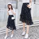skirt Summer 2020 S,M,L,XL,2XL Purplish red, black stars, broken flowers, polka dots Mid length dress commute High waist Ruffle Skirt Decor Type A 1689 real shot 81% (inclusive) - 90% (inclusive) Chiffon zipper Korean version
