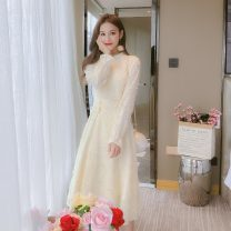 Dress Autumn 2020 Apricot S,M,L,XL longuette singleton  Long sleeves commute stand collar High waist Solid color Socket A-line skirt routine Others Type A Korean version Mesh, button 5529-L polyester fiber
