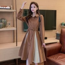 Dress Autumn 2020 Army green, light brown, black S,M,L,XL Mid length dress Fake two pieces Short sleeve commute Polo collar High waist Solid color Single breasted Big swing shirt sleeve Others Type A Korean version Button, button 7096-L
