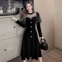 Dress Winter 2020 black S,M,L,XL,2XL Mid length dress Fake two pieces Long sleeves commute Crew neck High waist Solid color Socket A-line skirt puff sleeve Others Type A Korean version Hollowed out, stitched, beaded, button, mesh 661-L 81% (inclusive) - 90% (inclusive) other other