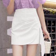 skirt Summer 2021 S,M,L,XL White, black Short skirt commute High waist Irregular Solid color Type A 356#M 30% and below Other / other Pleating Korean version