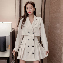 Dress Autumn 2020 Apricot, black, light brown S,M,L,XL,2XL Short skirt Fake two pieces Long sleeves commute tailored collar High waist Solid color double-breasted A-line skirt routine Korean version Button