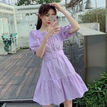 Dress Summer 2020 S,M,L,XL Short skirt singleton  Short sleeve commute square neck High waist Solid color Socket Irregular skirt puff sleeve Others Korean version