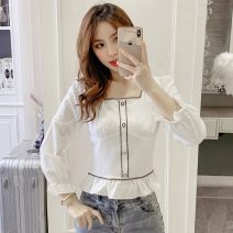 shirt White, red S,M,L,XL,2XL Spring 2021 other 81% (inclusive) - 90% (inclusive) Long sleeves commute Short style (40cm < length ≤ 50cm) square neck Socket other other Self cultivation Korean version 5897#M Lotus leaf edge