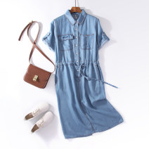 Dress Summer 2020 wathet M,L,XL,2XL Mid length dress singleton  Short sleeve street Polo collar middle-waisted Solid color Single breasted A-line skirt routine Type H Embroidery, pocket, lace up, stitching, making old More than 95% Denim other Europe and America