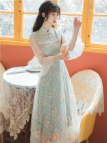 cheongsam Summer 2021 S,M,L Picture color long cheongsam Retro No slits daily Decor 18-25 years old Embroidery