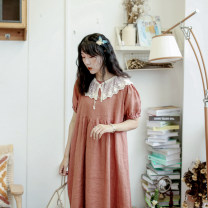 Dress Summer 2021 The color does not include the model's collar Average size Mid length dress singleton  Short sleeve commute Loose waist Solid color Type A More than 95% hemp