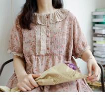 Dress Summer 2021 Tile color Average size Mid length dress singleton  Short sleeve Sweet Loose waist Decor A-line skirt Type A