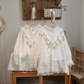 shirt Pure white, beige Average size Spring 2021 cotton 96% and above Long sleeves Versatile routine Solid color Lace, 3D, silhouette