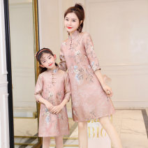 Parent child fashion Pink, blue Women's dress female Other / other Baby size 7 (100-115cm), baby size 9 (115-125cm), baby size 11 (125-135cm), baby size 13 (135-145cm), mother m (90-105kg), mother l (106-115kg), mother XL (116-130kg), mother XXL (130-145kg) spring and autumn ethnic style routine