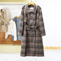 Windbreaker Spring 2021 S, M Plaid + belt routine have more cash than can be accounted for street double-breasted other other lattice 96% and above