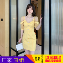Dress Summer 2021 yellow S,L,M Short skirt singleton  Short sleeve commute V-neck middle-waisted Solid color zipper One pace skirt puff sleeve Others 25-29 years old Type H ZY · HT / Ziyan Hongteng Splicing 81% (inclusive) - 90% (inclusive) Lace