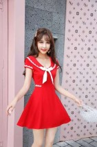 Dress Spring 2020 Black, pink, red L,M,S,XL Short skirt singleton  Short sleeve Sweet V-neck middle-waisted Solid color zipper A-line skirt other Others 18-24 years old Type A Bow, Ruffle college