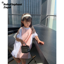 Dress Pink and white stitching, pink and white stitching female Baby elephant zagal 90cm,100cm,110cm,120cm,130cm,140cm Other 100% summer leisure time Short sleeve Solid color other A-line skirt BB2021142A Chinese Mainland