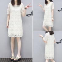 Dress Summer 2021 Blue, beige S,M,L,XL,2XL Mid length dress singleton  Short sleeve commute Crew neck High waist Solid color Socket A-line skirt other Others Type A Other / other Korean version More than 95% Lace