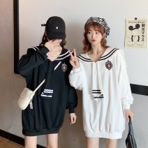 Women's large Autumn 2020 White, black Sweater / sweater commute moderate Long sleeves Solid color Korean version other cotton other 18-24 years old 96% and above other other
