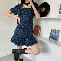 Dress Spring 2021 Dark blue S,M,L Short skirt singleton  commute square neck High waist Ruffle Skirt