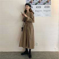 Dress Spring 2021 Picture color Average size Mid length dress singleton  Long sleeves commute Crew neck High waist Solid color Big swing 18-24 years old lady 71% (inclusive) - 80% (inclusive)