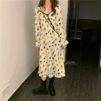 Dress Winter 2020 Apricot Average size Mid length dress singleton  Long sleeves commute square neck High waist Broken flowers Socket A-line skirt Petal sleeve 18-24 years old Type A Other / other Korean version