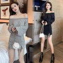 Dress Spring 2021 Grey, black, grey 6499, black 6499 S,M,L,XL Short skirt singleton  Long sleeves 18-24 years old