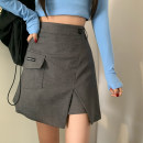 skirt Summer 2021 S,M,L Gray, black Middle-skirt commute High waist A-line skirt Solid color 18-24 years old 91% (inclusive) - 95% (inclusive)