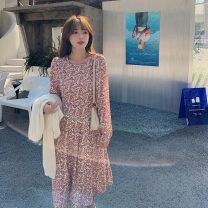 Dress Spring 2021 Light blue, pink S,M,L Middle-skirt singleton  Long sleeves commute square neck middle-waisted Decor Socket Big swing routine 18-24 years old Type A Korean version 81% (inclusive) - 90% (inclusive) Chiffon