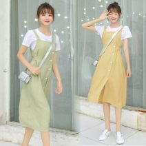 Dress Spring 2021 S,M,L,XL Mid length dress Two piece set Sleeveless Sweet One word collar Elastic waist Solid color Socket other routine camisole 18-24 years old Frenulum 71% (inclusive) - 80% (inclusive) other cotton