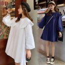Dress Spring 2020 White, blue Average size Middle-skirt singleton  Nine point sleeve Loose waist Solid color bishop sleeve 18-24 years old