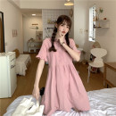 Dress Spring 2021 White, purple, blue, bean green, pink Average size Middle-skirt singleton  Long sleeves commute Crew neck High waist Solid color A-line skirt other 18-24 years old Type A Retro