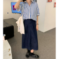 skirt Summer 2021 S, M navy blue Middle-skirt commute High waist A-line skirt Solid color Type A 18-24 years old 31% (inclusive) - 50% (inclusive) Denim cotton 401g / m ^ 2 (inclusive) - 500g / m ^ 2 (inclusive)