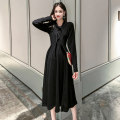Dress Spring 2021 black S M L XL longuette singleton  Long sleeves commute Polo collar High waist Solid color Socket A-line skirt routine 25-29 years old Type A Imperial concubine Chang Button FC-AYG-3701# More than 95% other Other 100%