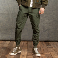 Casual pants AKseries Fashion City Black army green S M L XL XXL routine trousers Other leisure Self cultivation Micro bomb Four seasons youth Military brigade of tooling middle-waisted Little feet Cotton 100% Overalls Solid color other Spring 2021