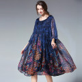 Women's large Autumn of 2019 Black, blue Large XL, large XXL, large XXL, large XXXXL, large XXXXL Dress singleton  commute easy moderate Nine point sleeve Decor Ol style Crew neck polyester printing and dyeing routine JianRuYi 30-34 years old 96% and above Middle-skirt other