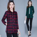 shirt Red, green XL,2XL,3XL,4XL,5XL Autumn of 2019 polyester fiber 81% (inclusive) - 90% (inclusive) Long sleeves commute Medium length square neck Single row multi button routine lattice 35-39 years old Self cultivation Korean version Pockets, thread trim, buttons Synthetic fiber